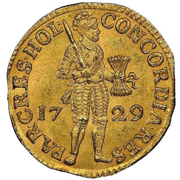 Holland, United Netherlands, gold ducat, 1729, NGC MS 64 / Vliegenthart.