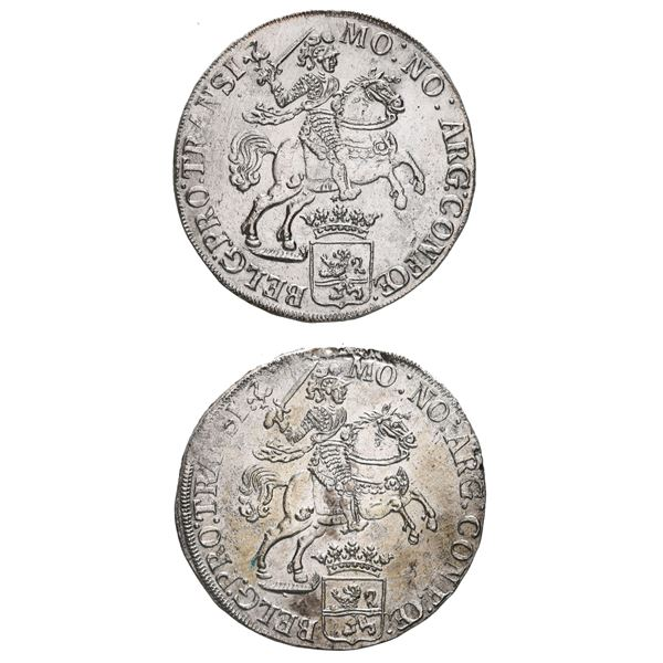 """Boxed set of two Overijssel, United Netherlands, """"rider"""" ducatoons, 1733 and 1734."""