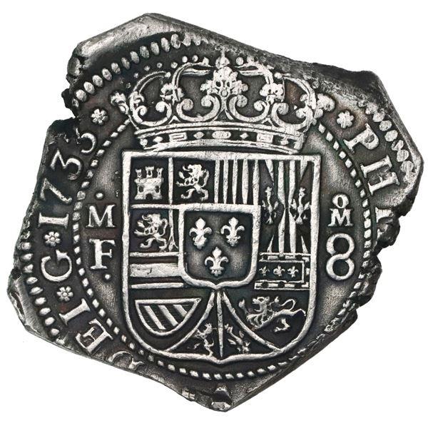 Mexico City, Mexico, klippe 8 reales, 1733MF, ex-Ponterio.