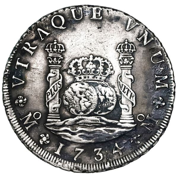 Mexico City, Mexico, pillar 8 reales, Philip V, 1734MF.