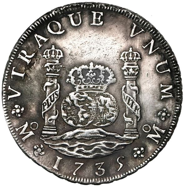 Mexico City, Mexico, pillar 8 reales, Philip V, 1735MF, ex-Ponterio.