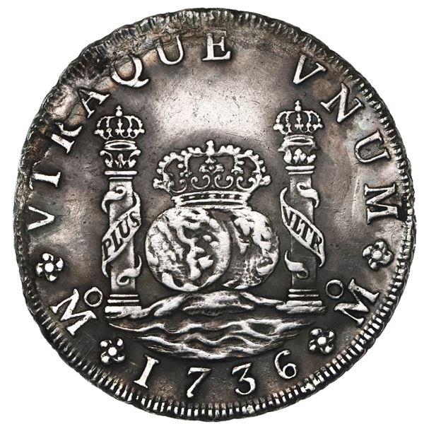 Mexico City, Mexico, pillar 8 reales, Philip V, 1736MF, small flan.