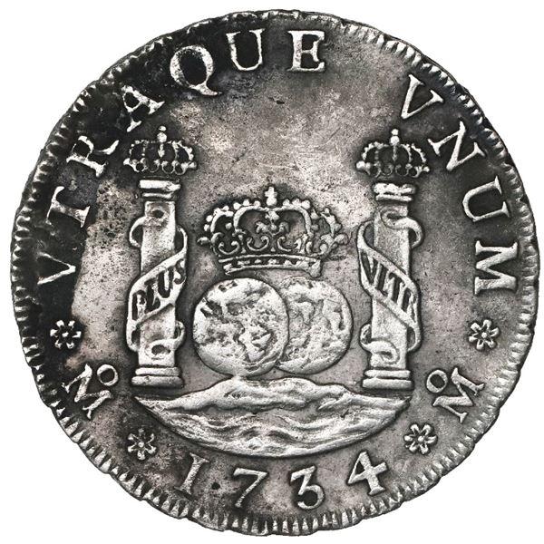 Mexico City, Mexico, pillar 4 reales, Philip V, 1734MF, ex-Ponterio.