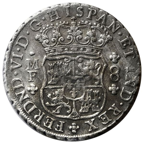 Mexico City, Mexico, pillar 8 reales, Ferdinand VI, 1752MF, ICCS Auguste / VF-30.