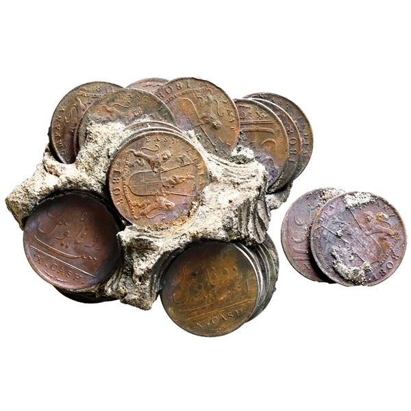Large clump of approx. 50 English East India Co. copper X cash, 1808 (two separated), encrusted as f