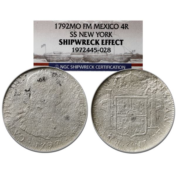 Mexico City, Mexico, bust 4 reales, Charles IV, 1797FM, NGC Shipwreck Effect / SS New York (1846).
