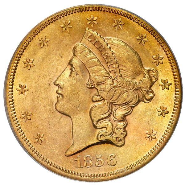 USA (San Francisco mint), gold $20 coronet Liberty double eagle, 1856-S, variety 17O (no serif, left