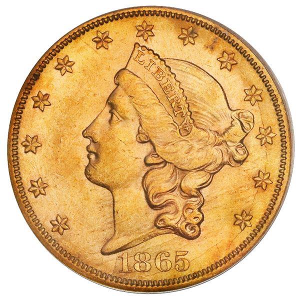 USA (San Francisco mint), gold $20 coronet Liberty double eagle, 1865-S, PCGS AU58 / Brother Jonatha