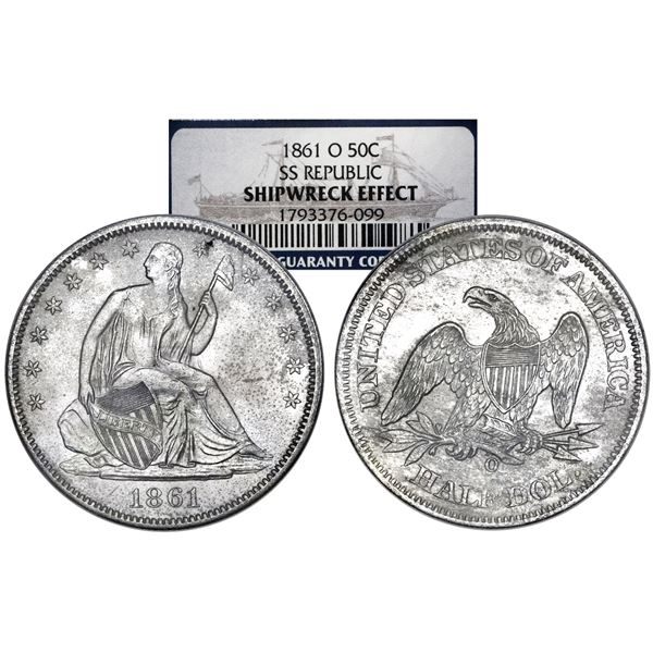 USA (New Orleans Mint), Seated Liberty half dollar, 1861-O, NGC SS Republic / Shipwreck Effect, in w