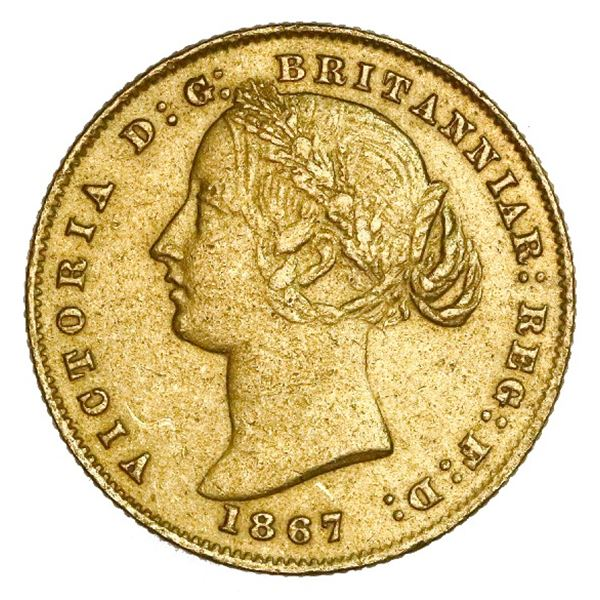 Sydney, Australia (under Great Britain), gold sovereign, Victoria (young head), 1867, NGC AU details