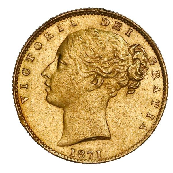 Sydney, Australia (under Great Britain), gold sovereign, Victoria (young head), 1871-S, shield type,