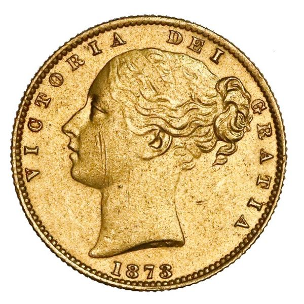 Sydney, Australia (under Great Britain), gold sovereign, Victoria (young head), 1873-S, shield type,