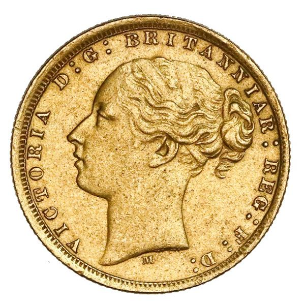 Melbourne, Australia (under Great Britain), gold sovereign, Victoria (young head), 1875-M, St. Georg