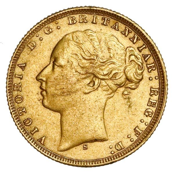 Sydney, Australia (under Great Britain), gold sovereign, Victoria (young head), 1875-S, St. George t