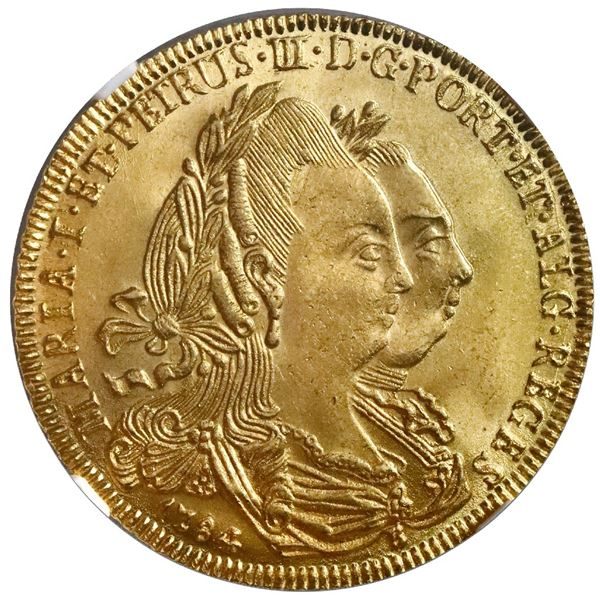 Brazil (Bahia mint), gold 6400 reis, Maria I and Pedro III, 1784-B, no dot after REGES, NGC MS 64+ /