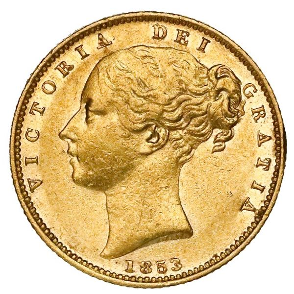 Great Britain (London, England), gold sovereign, Victoria (young head), 1853, WW in relief.