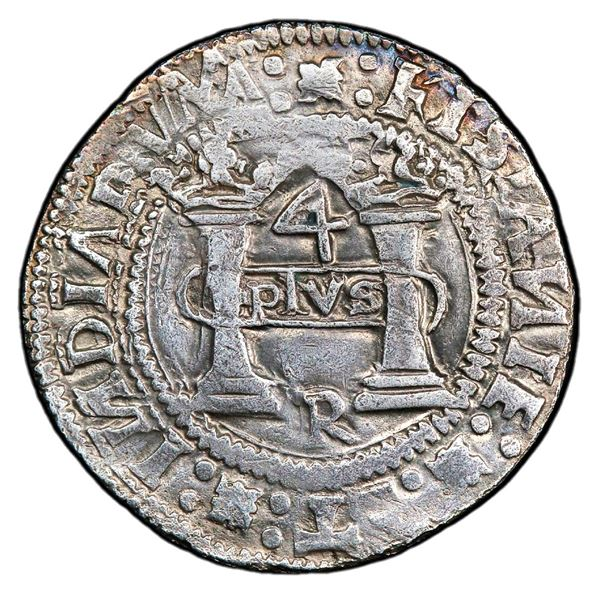 """Mexico City, Mexico, 4 reales, Charles-Joanna, """"Early Series,"""" assayer R, PLVS in rounded panel, PCG"""