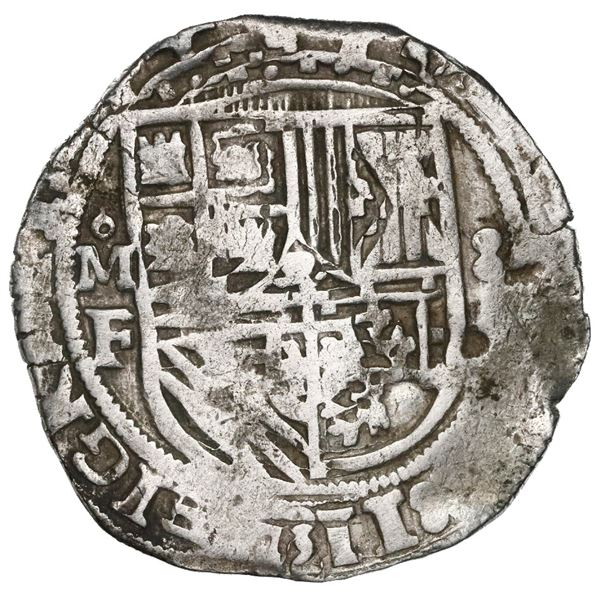 Mexico City, Mexico, cob 8 reales, Philip II, assayer F, quadrants of cross transposed, very rare.