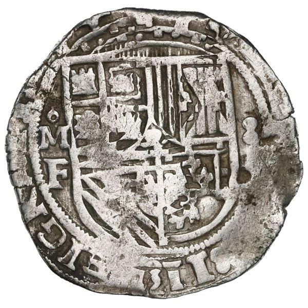Mexico City, Mexico, cob 8 reales, Philip II, assayer F, quadrants of cross transposed, very rare.