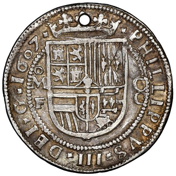 Mexico City, Mexico, cob 8 reales Royal (galano), 1607F, very rare, NGC XF details / holed, finest a