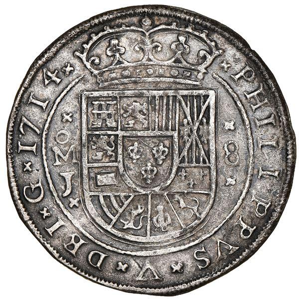 Mexico City, Mexico, cob 8 reales Royal (galano), 1714J, NGC AU details / environmental damage, ex-1