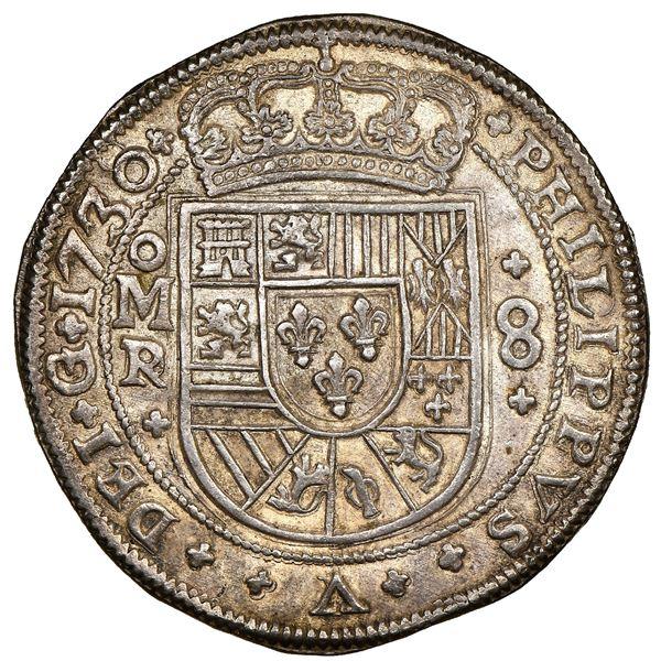 Mexico City, Mexico, cob 8 reales Royal (galano), 1730/28/5R/D, PHILIPPVS V over LVDOVICVS I, unique