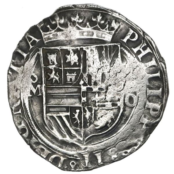 Mexico City, Mexico, cob 4 reales, Philip II, assayer O below denomination oIIII (not visible) to ri