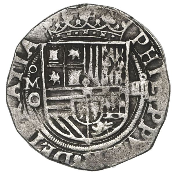 Mexico City, Mexico, cob 4 reales, Philip II, assayer O below mintmark oM to left, denomination o-II