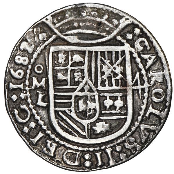Mexico City, Mexico, cob 4 reales Royal (galano), 1682L, unique, NGC VF details / plugged, finest an