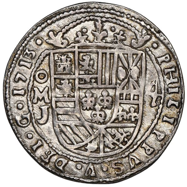 Mexico City, Mexico, cob 4 reales Royal (galano), 1713J, unique, NGC XF details / plugged, finest an