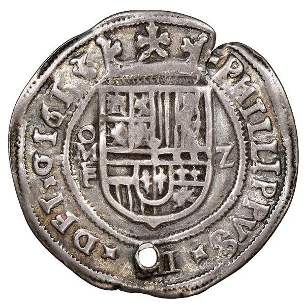 Mexico City, Mexico, cob 2 reales Royal (galano), 1613F, denomination z, unique, NGC VF details / ho