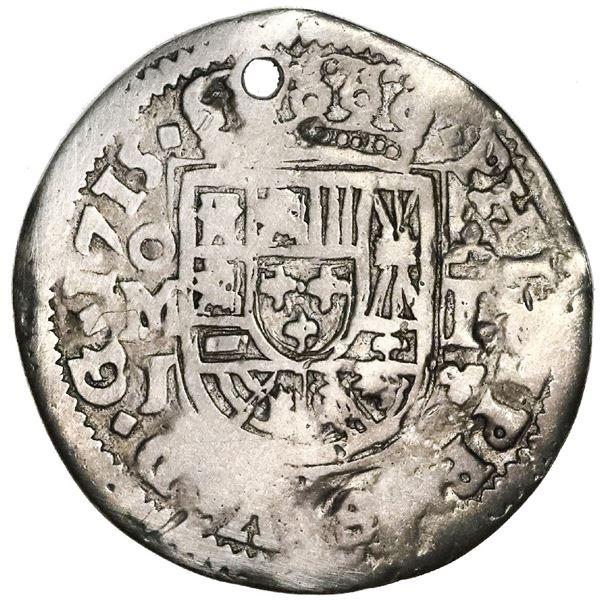 Mexico City, Mexico, cob 1 real Royal (galano), 1715J, very rare.