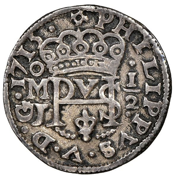 Mexico City, Mexico, cob 1/2 real Royal (galano), 1715J, rare, NGC XF 40, finest known in NGC census