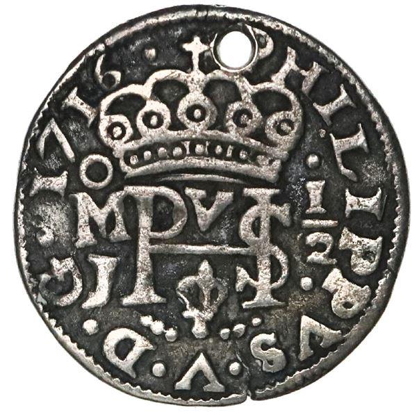 Mexico City, Mexico, cob 1/2 real Royal (galano), 1716J.