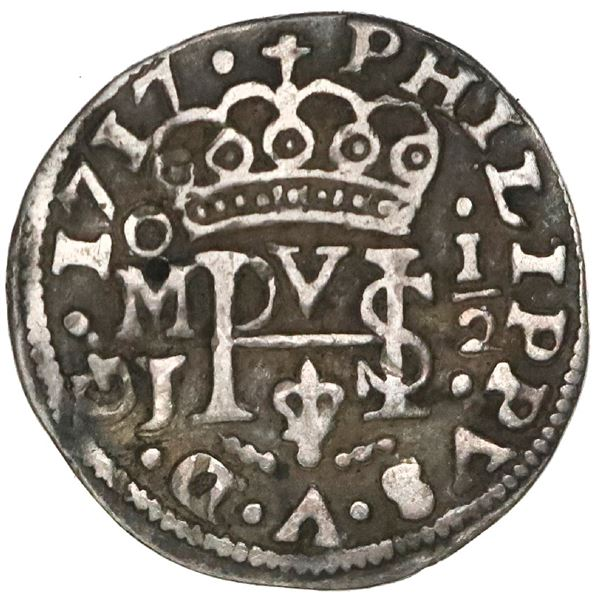 Mexico City, Mexico, cob 1/2 real Royal (galano), 1717J, rare.