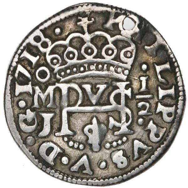 Mexico City, Mexico, cob 1/2 real Royal (galano), 1718J, rare.