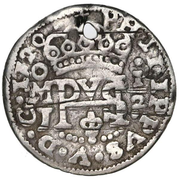 Mexico City, Mexico, cob 1/2 real Royal (galano), 1720J, rare.