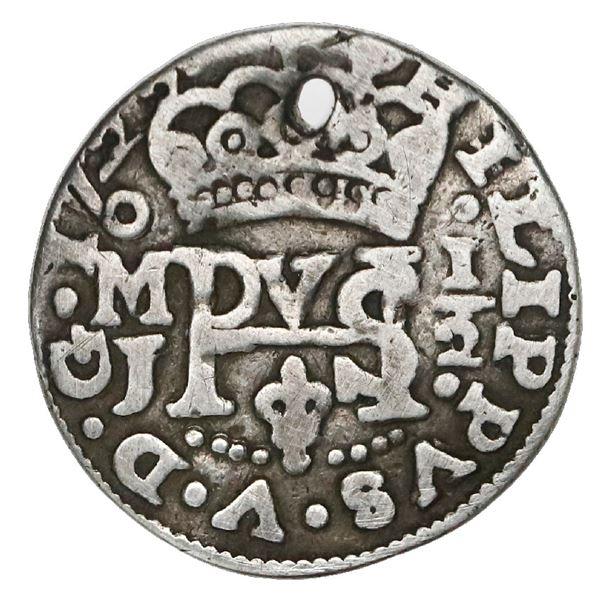 Mexico City, Mexico, cob 1/2 real Royal (galano), 1722/0J, rare.