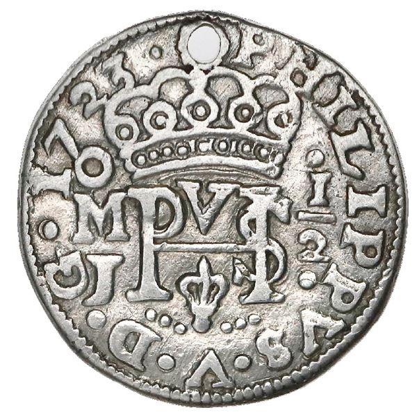 Mexico City, Mexico, cob 1/2 real Royal (galano), 1723J, rare.