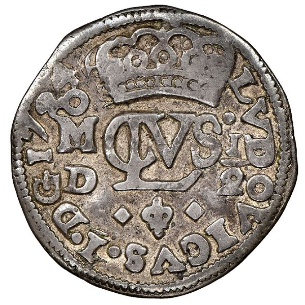 Mexico City, Mexico, cob 1/2 real Royal (galano), 1724D, Louis I, very rare, NGC VF 30, finest known