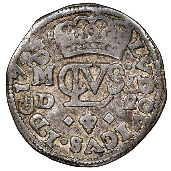 Mexico City, Mexico, cob 1/2 real Royal (galano), 1724D, Louis I, very rare, NGC VF 30, finest known
