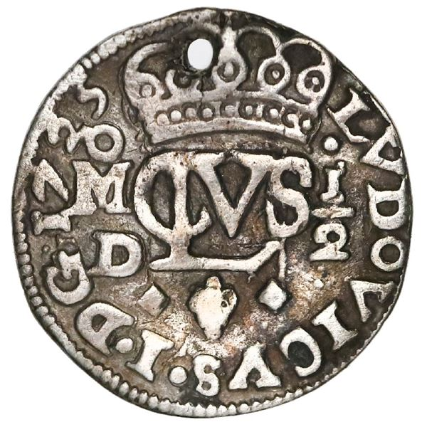 Mexico City, Mexico, cob 1/2 real Royal (galano), 1725D, Louis I, very rare.