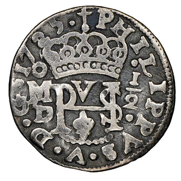 Mexico City, Mexico, cob 1/2 real Royal (galano), 1725D, Philip V, extremely rare, NGC F 15, finest