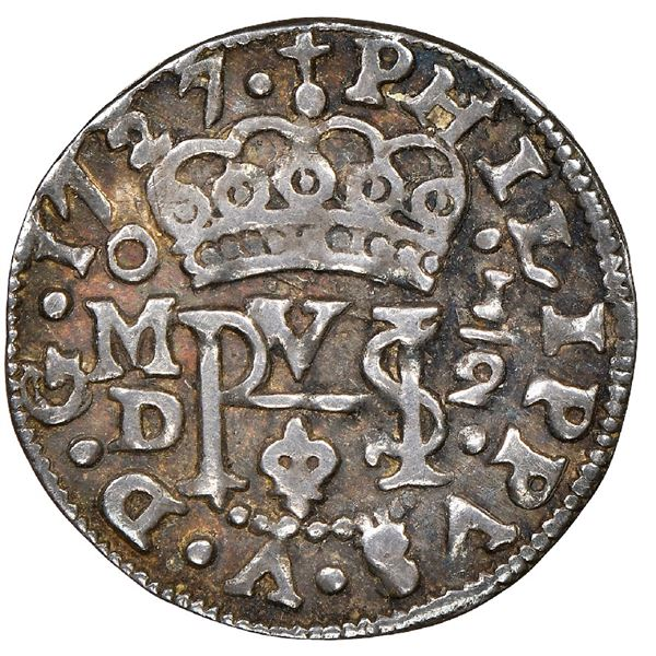 Mexico City, Mexico, cob 1/2 real Royal (galano), 1727/5D, very rare, NGC VF 30, finest and only exa