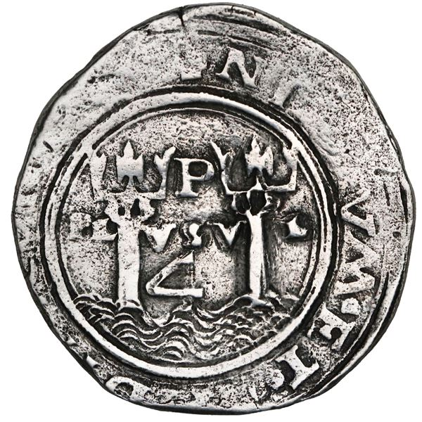 Lima, Peru, 4 reales, Philip II, assayer R (small) to left, motto PL-VSV-T, legends HISPA / NIARVM.