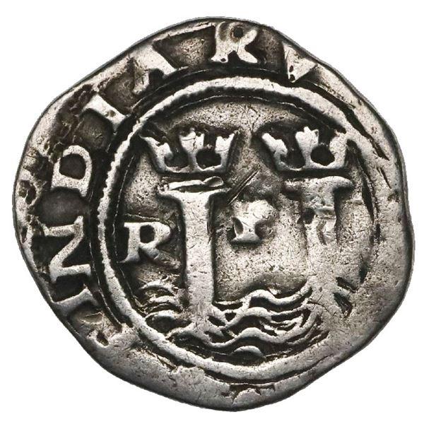Lima, Peru, 1/2 real, Philip II, assayer R to left, legends HISP / ?.
