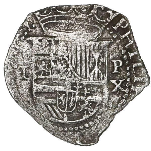 Lima, Peru, 1 real, Philip II, assayer X below mintmark P to right, very rare.