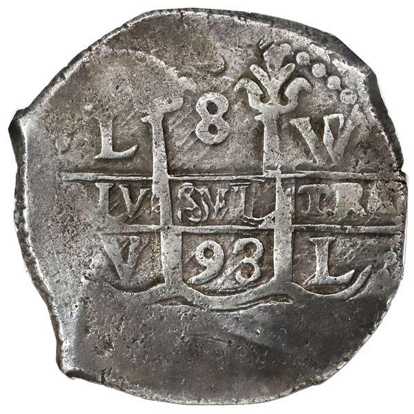 Lima, Peru, cob 8 reales, 1693V, NGC VF 30, ex-Sellschopp.