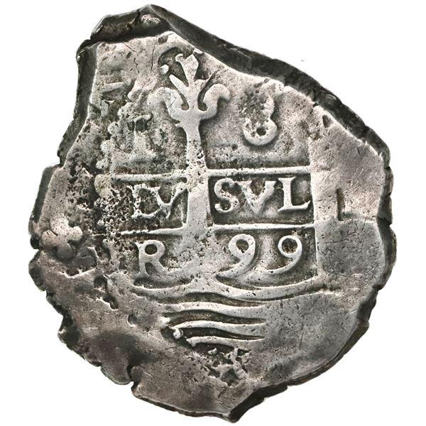 Lima, Peru, cob 8 reales, 1699R, ex-1715 Fleet, ex-Glendining.