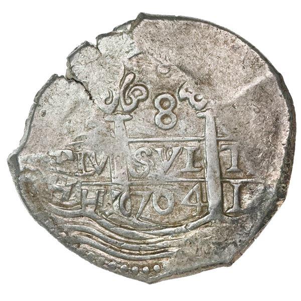 Lima, Peru, cob 8 reales, 1704H.